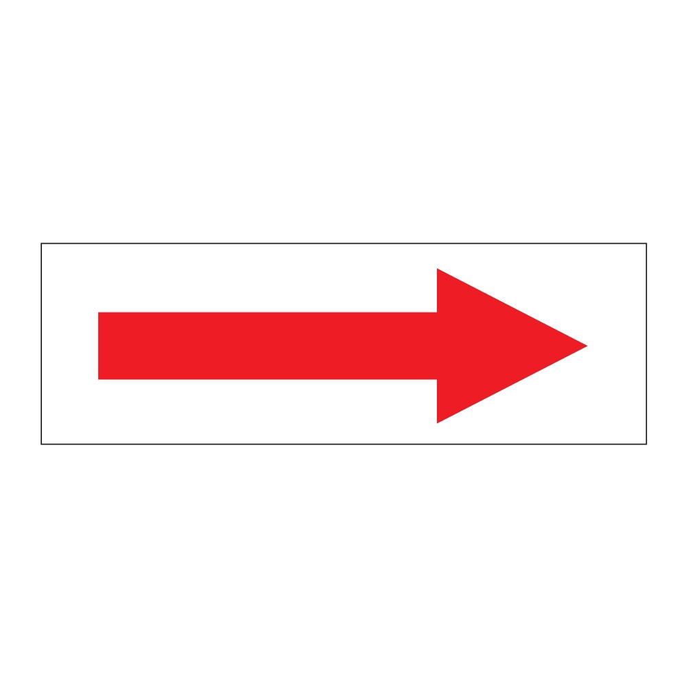 Red Arrow On White Self Adhesive 300mm X 100mm Self