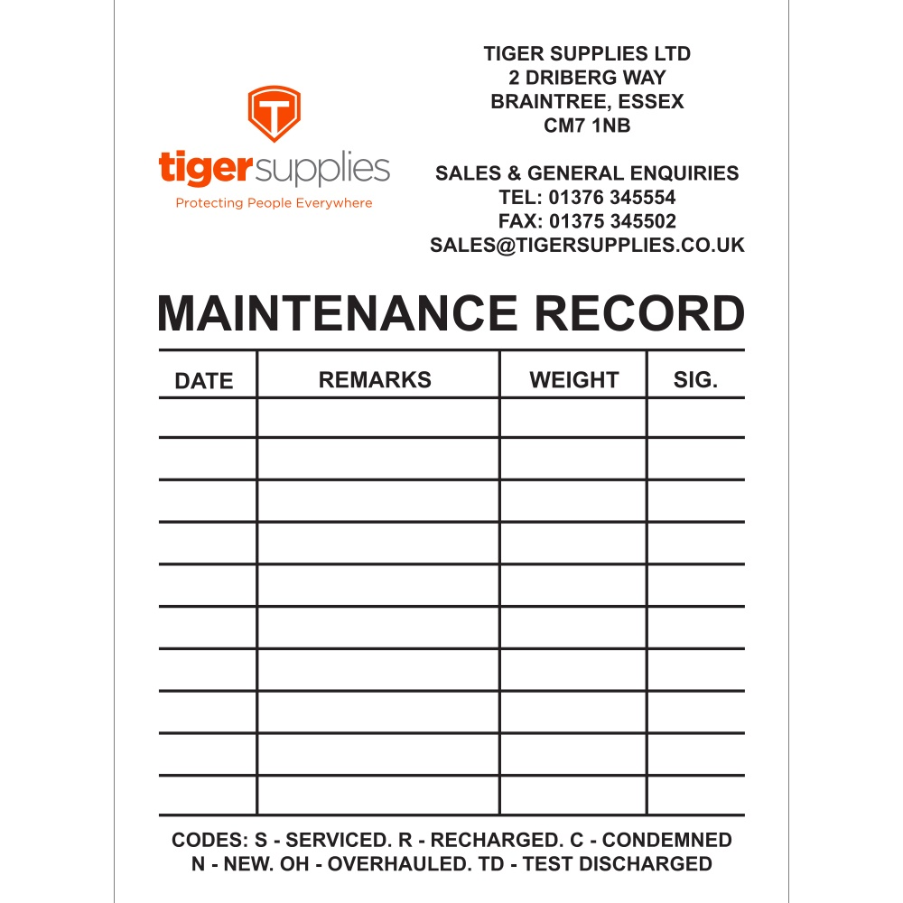 Fire Extinguisher Maintenance Sticker Tiger Supplies