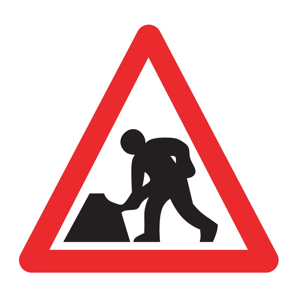 Road works - 750mm Triangle - Zintec Sign | Tiger Supplies