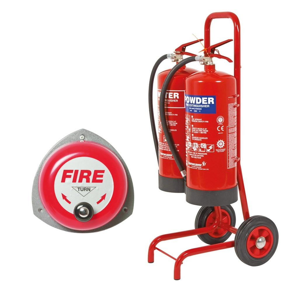 Double Fire Trolley C W Rotary Hand Bell 9 Litre Water Extinguisher 9kg Dry Powder