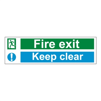 fire exit keep clear sign 600 x 200mm 1mm rigid plastic from tiger