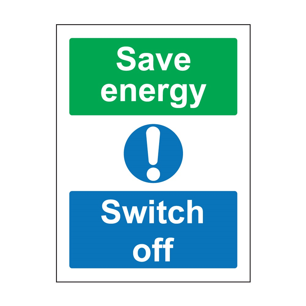 Save Energy Switch Off 100mm X 75mm Self Adhesive Vinyl