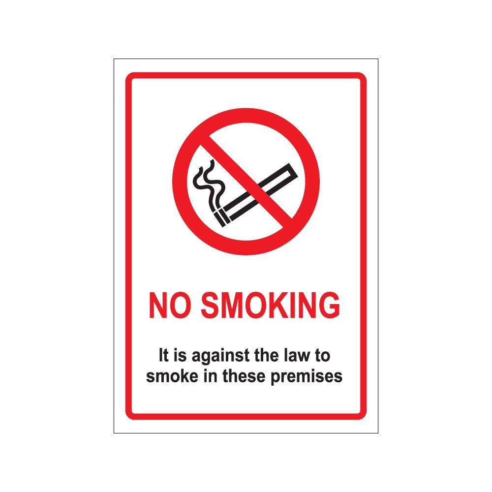 200 X 300mm Rigid Against The Law Sign No Smoking 5pk