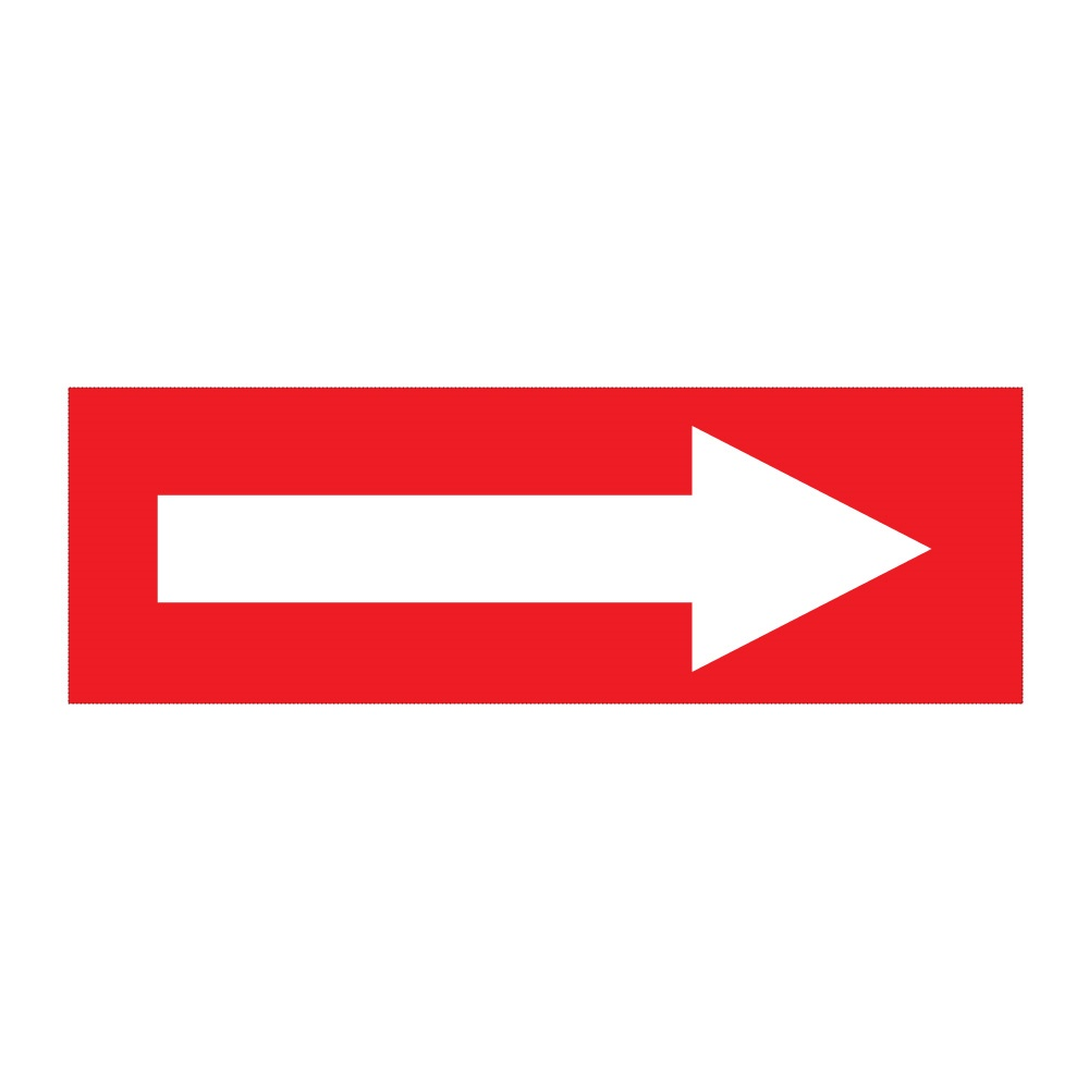 White Arrow On Red Self Adhesive 300mm X 100mm Self